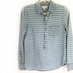 J. Crew Tops - J. Crew Chambray Striped Button Down Shirt